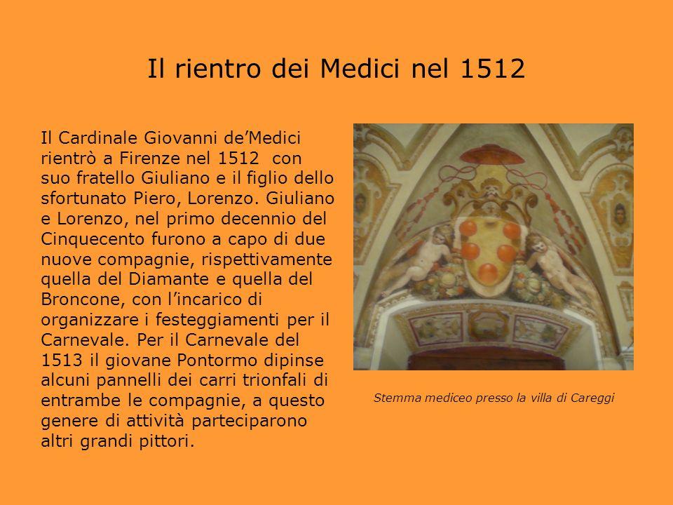 Il rientro dei Medici nel 1512 Il Cardinale Giovanni deMedici rientrò a Firenze nel 1512 con suo fratello Giuliano e il figlio dello sfortunato Piero,