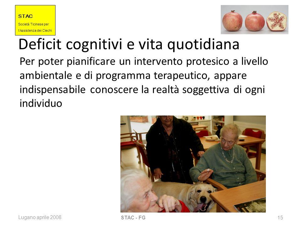 STAC Societ à Ticinese per l Assistenza dei Ciechi Lugano aprile 2008 STAC - FG 15 Deficit cognitivi e vita quotidiana Per poter pianificare un interv