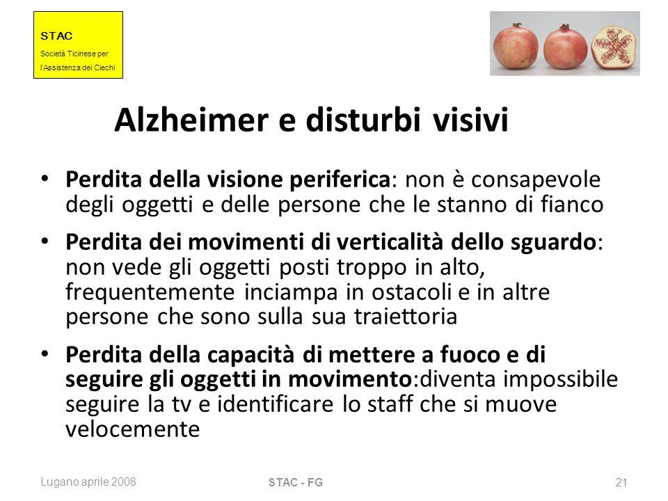 STAC Societ à Ticinese per l Assistenza dei Ciechi Lugano aprile 2008 STAC - FG 21 Alzheimer e disturbi visivi Perdita della visione periferica: non è
