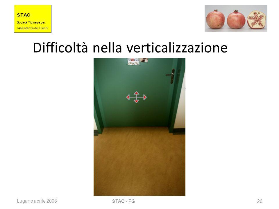 STAC Societ à Ticinese per l Assistenza dei Ciechi Lugano aprile 2008 STAC - FG 26 Difficoltà nella verticalizzazione