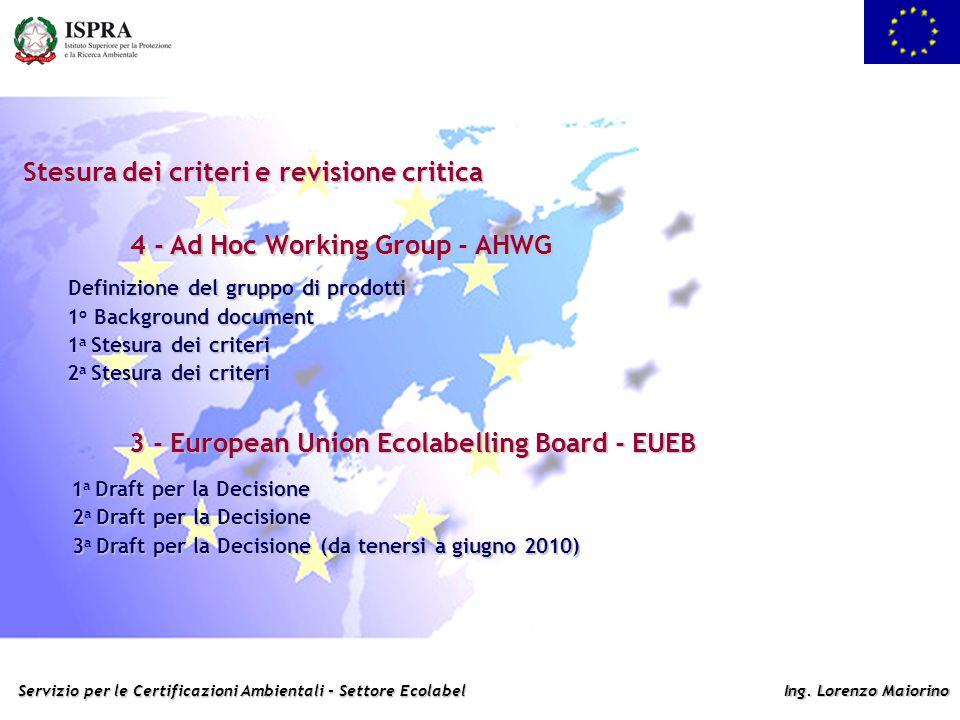 Servizio per le Certificazioni Ambientali - Settore Ecolabel Ing. Lorenzo Maiorino Stesura dei criteri e revisione critica 4 - Ad Hoc Working Group -