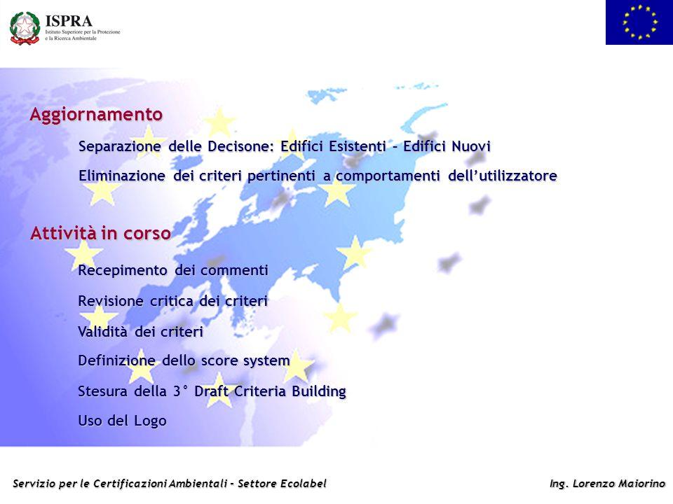 Servizio per le Certificazioni Ambientali - Settore Ecolabel Ing. Lorenzo Maiorino Aggiornamento Attività in corso Revisione critica dei criteri Recep