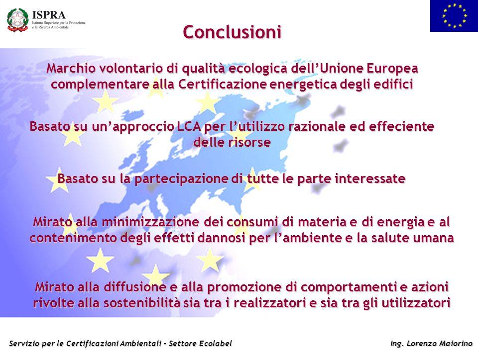 Servizio per le Certificazioni Ambientali - Settore Ecolabel Ing. Lorenzo Maiorino Conclusioni Marchio volontario di qualità ecologica dellUnione Euro