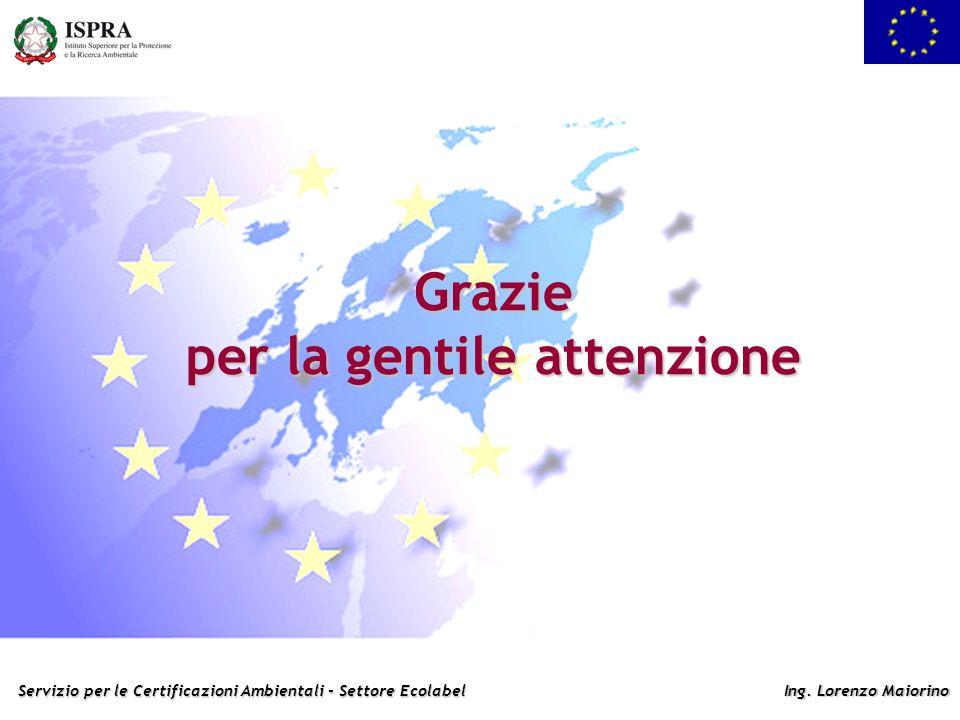 Servizio per le Certificazioni Ambientali - Settore Ecolabel Ing. Lorenzo Maiorino Grazie per la gentile attenzione