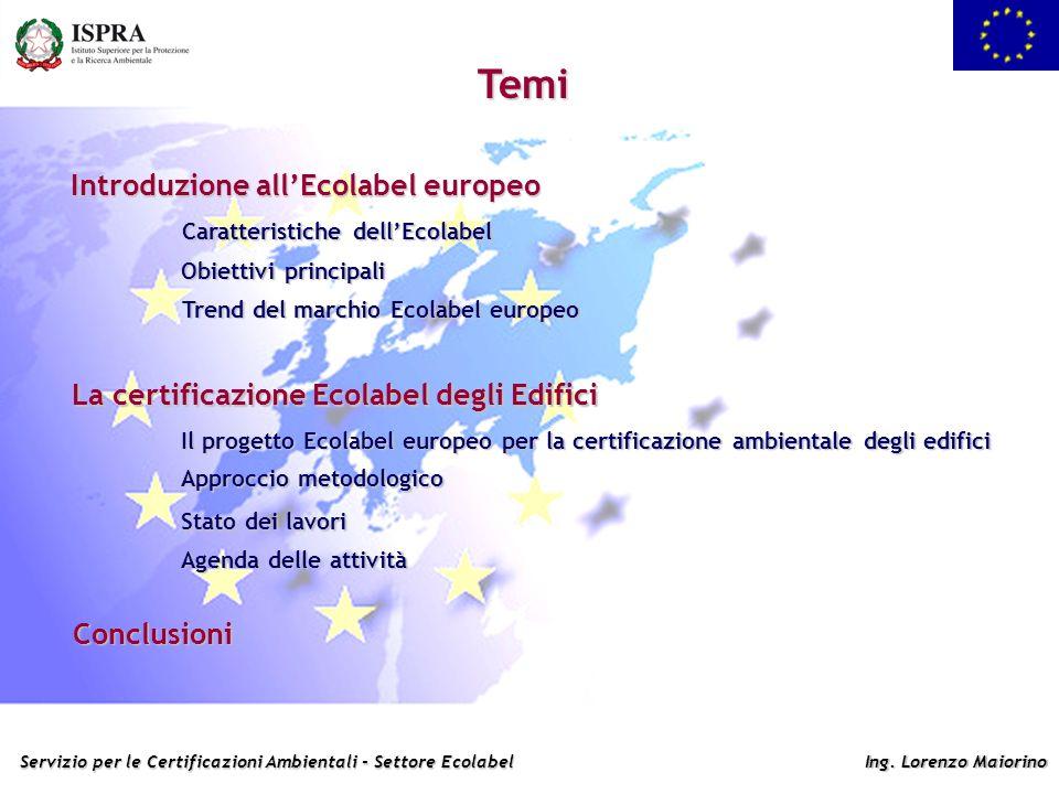 Servizio per le Certificazioni Ambientali - Settore Ecolabel Ing. Lorenzo Maiorino Temi Introduzione allEcolabel europeo Caratteristiche dellEcolabel