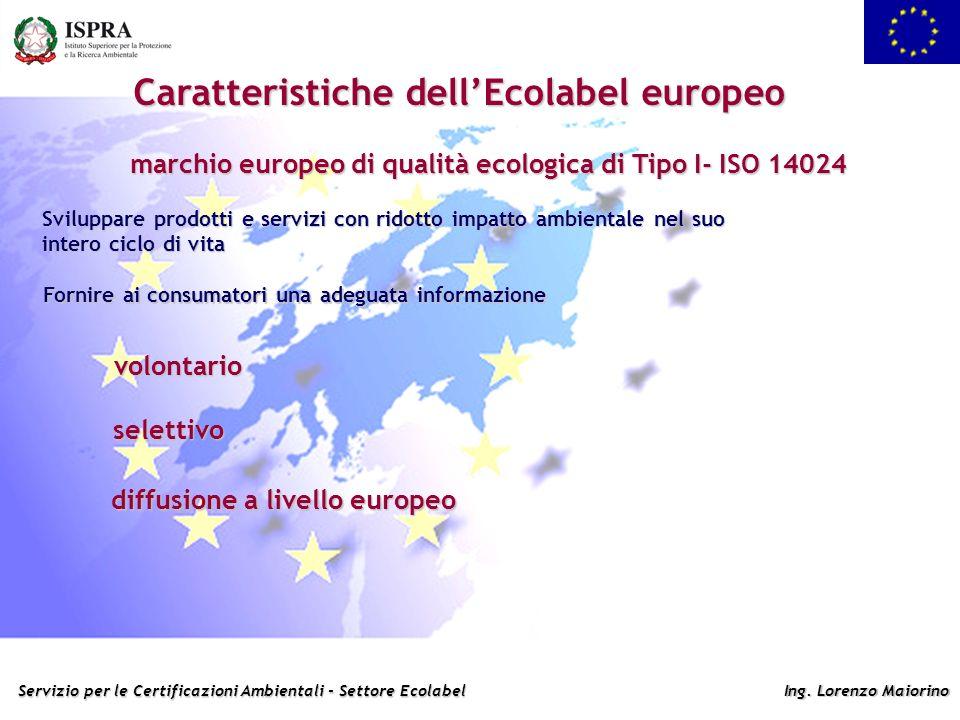 Servizio per le Certificazioni Ambientali - Settore Ecolabel Ing. Lorenzo Maiorino Caratteristiche dellEcolabel europeo marchio europeo di qualità eco