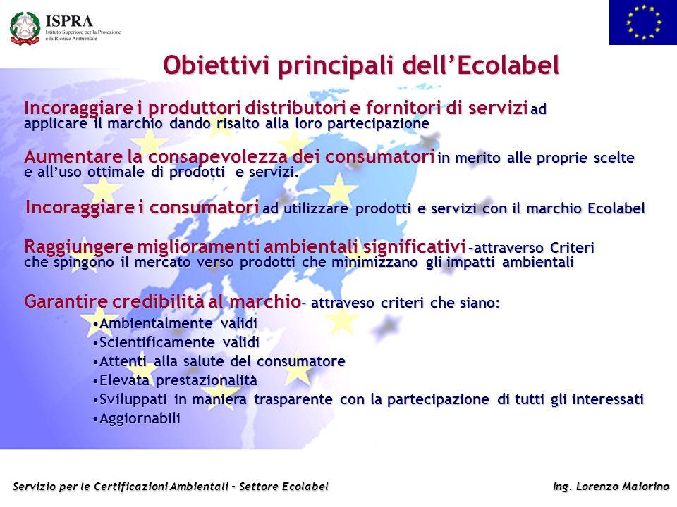 Servizio per le Certificazioni Ambientali - Settore Ecolabel Ing. Lorenzo Maiorino Obiettivi principali dellEcolabel Aumentare la consapevolezza dei c