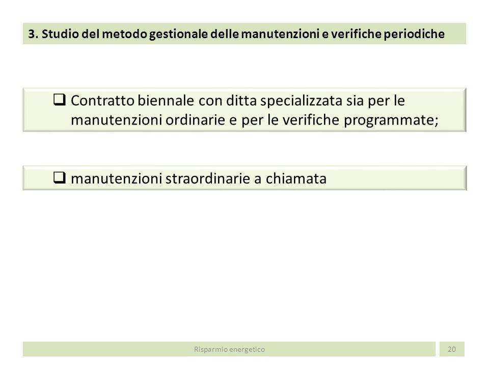3. Studio del metodo gestionale delle manutenzioni e verifiche periodiche 20Risparmio energetico Contratto biennale con ditta specializzata sia per le