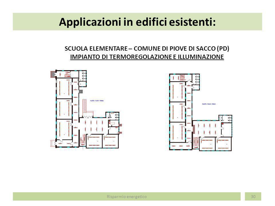 Applicazioni in edifici esistenti: 30 SCUOLA ELEMENTARE – COMUNE DI PIOVE DI SACCO (PD) IMPIANTO DI TERMOREGOLAZIONE E ILLUMINAZIONE Risparmio energet