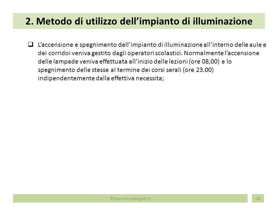 2. Metodo di utilizzo dellimpianto di illuminazione 34 Laccensione e spegnimento dellimpianto di illuminazione allinterno delle aule e dei corridoi ve