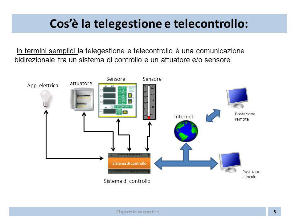 Pertanto la telgestione e telecontrollo permette di ottenere: - la ricezione di qualsiasi segnale (allarme, malfunzionamento, misura, ecc.) dalle apparecchiature elettriche installate; - la trasmissione di comandi per la gestione di tutte le apparecchiature elettriche installate (accensione/ spegnimento luci, regolazione valvole miscelatrici, ecc) Cosè la telegestione e telecontrollo: 6Risparmio energetico Postazione remota Postazion e locale Internet