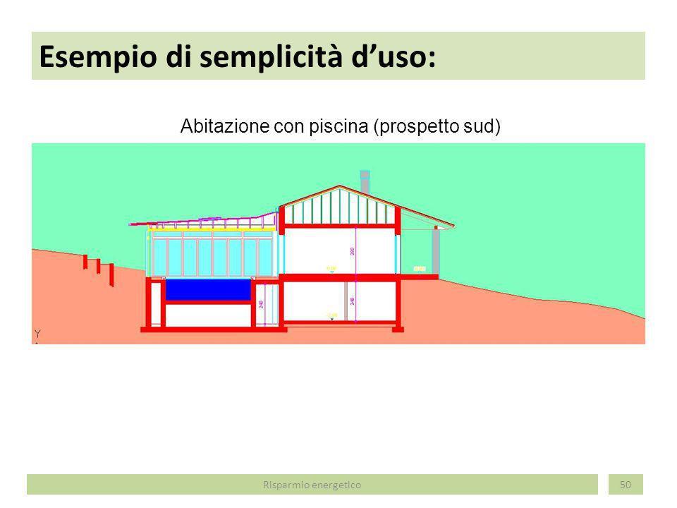 Esempio di semplicità duso: 51 Abitazione con piscina (prospetto nord) Risparmio energetico