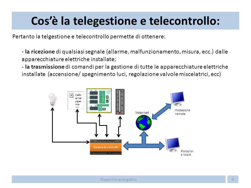 Pertanto la telgestione e telecontrollo permette di ottenere: - la ricezione di qualsiasi segnale (allarme, malfunzionamento, misura, ecc.) dalle appa