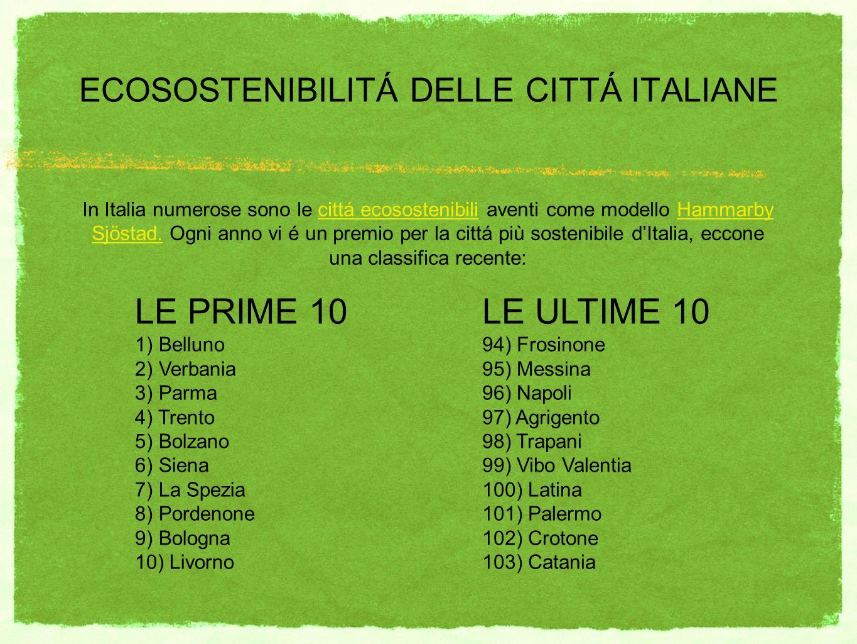 ECOSOSTENIBILITÁ DELLE CITTÁ ITALIANE In Italia numerose sono le cittá ecosostenibili aventi come modello Hammarby Sjöstad. Ogni anno vi é un premio p