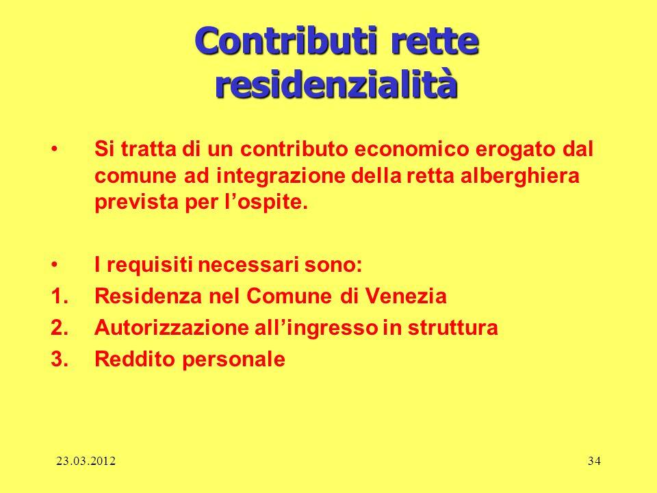 23.03.201234 Contributi rette residenzialità Si tratta di un contributo economico erogato dal comune ad integrazione della retta alberghiera prevista