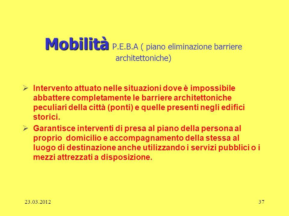 23.03.201237 Mobilità Mobilità P.E.B.A ( piano eliminazione barriere architettoniche) Intervento attuato nelle situazioni dove è impossibile abbattere