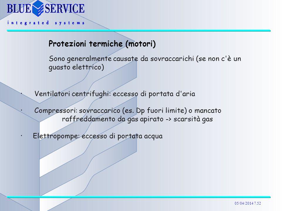 05/04/2014 7.52 Protezioni termiche (motori) Sono generalmente causate da sovraccarichi (se non c'è un guasto elettrico) ·Ventilatori centrifughi: ecc