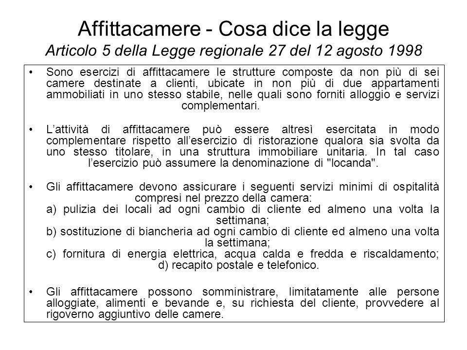Affittacamere - Cosa dice la legge Articolo 5 della Legge regionale 27 del 12 agosto 1998 Sono esercizi di affittacamere le strutture composte da non