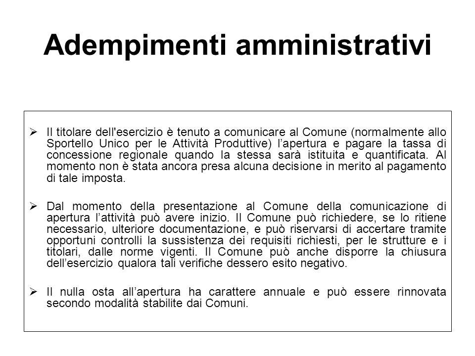 Adempimenti amministrativi Il titolare dell'esercizio è tenuto a comunicare al Comune (normalmente allo Sportello Unico per le Attività Produttive) la