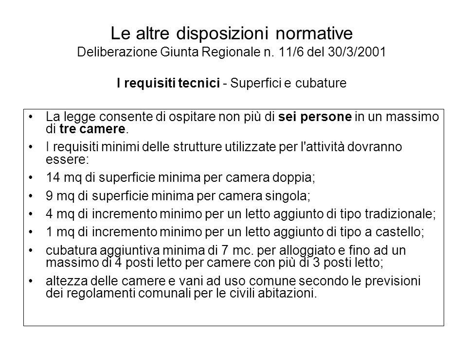 Le altre disposizioni normative Deliberazione Giunta Regionale n. 11/6 del 30/3/2001 I requisiti tecnici - Superfici e cubature La legge consente di o