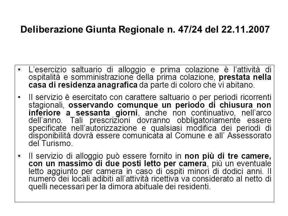 Deliberazione Giunta Regionale n. 47/24 del 22.11.2007 Lesercizio saltuario di alloggio e prima colazione è lattività di ospitalità e somministrazione