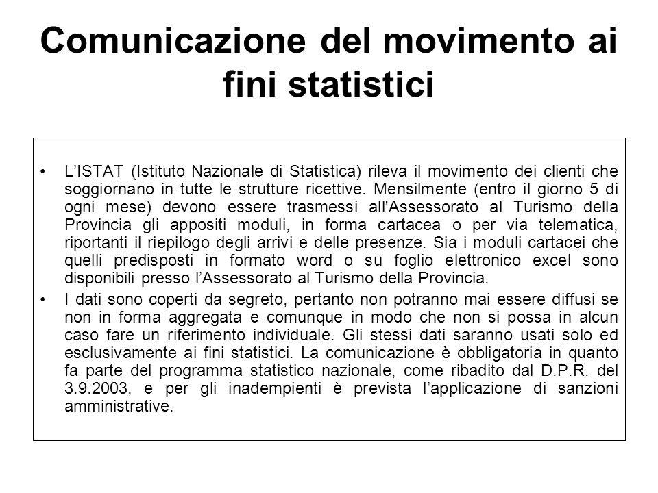 Comunicazione del movimento ai fini statistici LISTAT (Istituto Nazionale di Statistica) rileva il movimento dei clienti che soggiornano in tutte le s