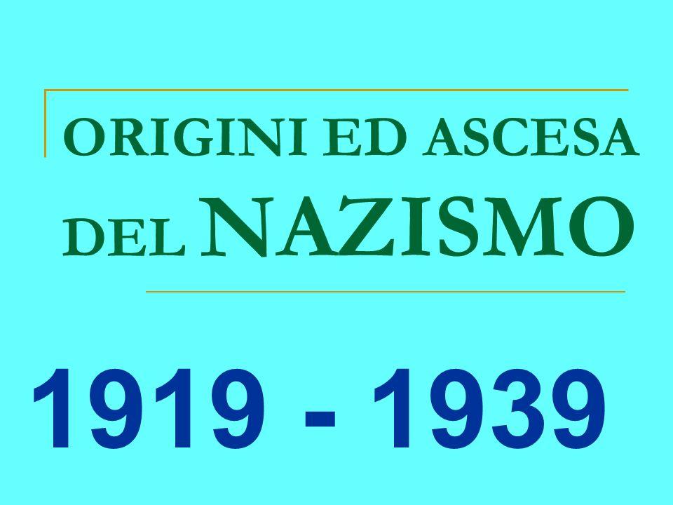 ORIGINI ED ASCESA DEL NAZISMO 1919 - 1939