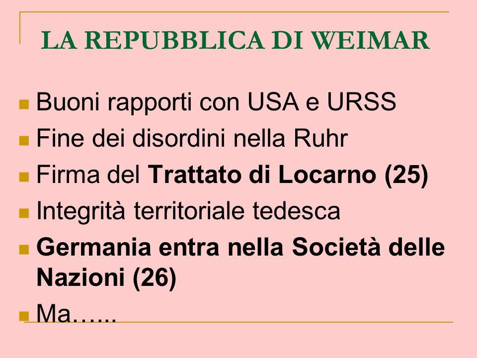 LA REPUBBLICA DI WEIMAR Buoni rapporti con USA e URSS Fine dei disordini nella Ruhr Firma del Trattato di Locarno (25) Integrità territoriale tedesca