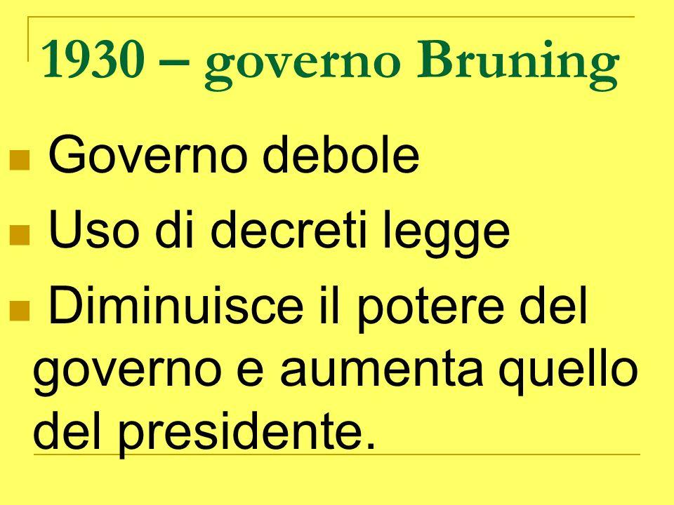 1930 – governo Bruning Governo debole Uso di decreti legge Diminuisce il potere del governo e aumenta quello del presidente.