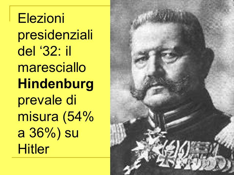 Elezioni presidenziali del 32: il maresciallo Hindenburg prevale di misura (54% a 36%) su Hitler