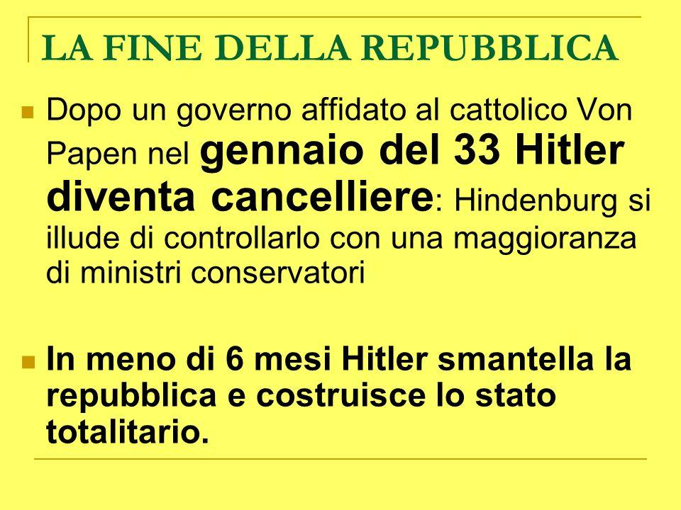 LA FINE DELLA REPUBBLICA Dopo un governo affidato al cattolico Von Papen nel gennaio del 33 Hitler diventa cancelliere : Hindenburg si illude di contr