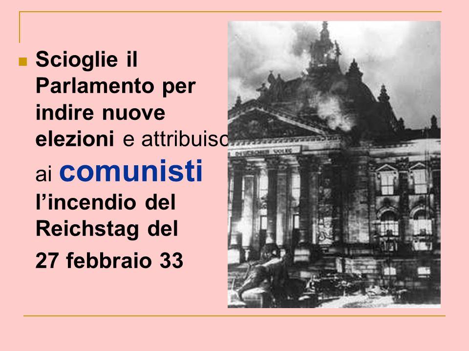 Scioglie il Parlamento per indire nuove elezioni e attribuisce ai comunisti lincendio del Reichstag del 27 febbraio 33