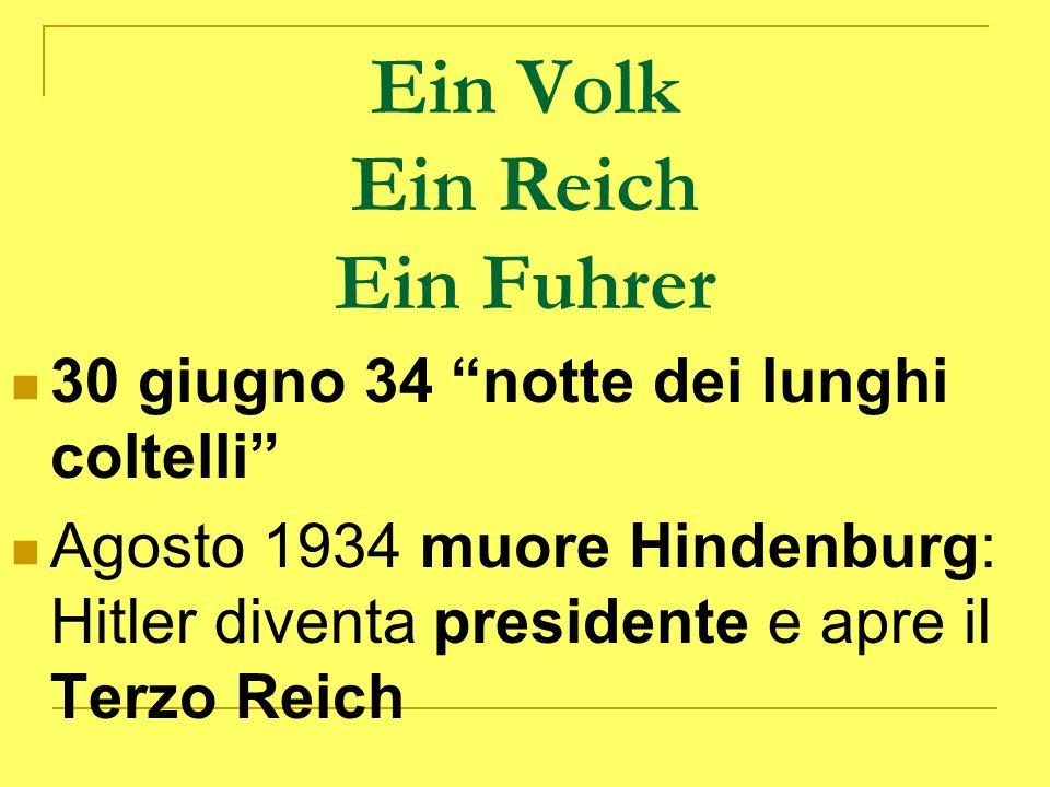 Ein Volk Ein Reich Ein Fuhrer 30 giugno 34 notte dei lunghi coltelli Agosto 1934 muore Hindenburg: Hitler diventa presidente e apre il Terzo Reich