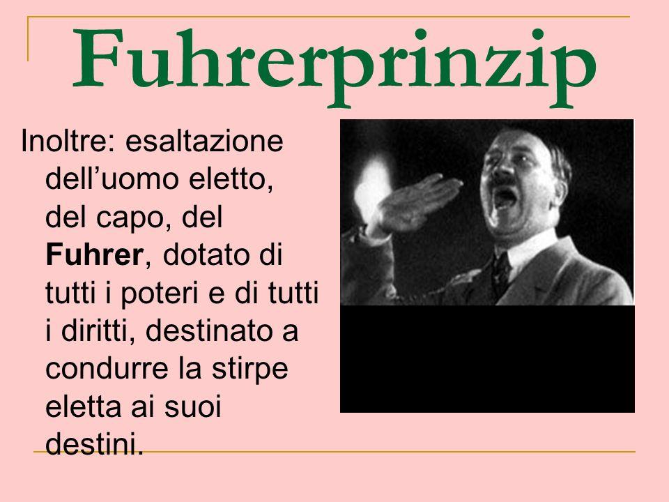 Fuhrerprinzip Inoltre: esaltazione delluomo eletto, del capo, del Fuhrer, dotato di tutti i poteri e di tutti i diritti, destinato a condurre la stirp