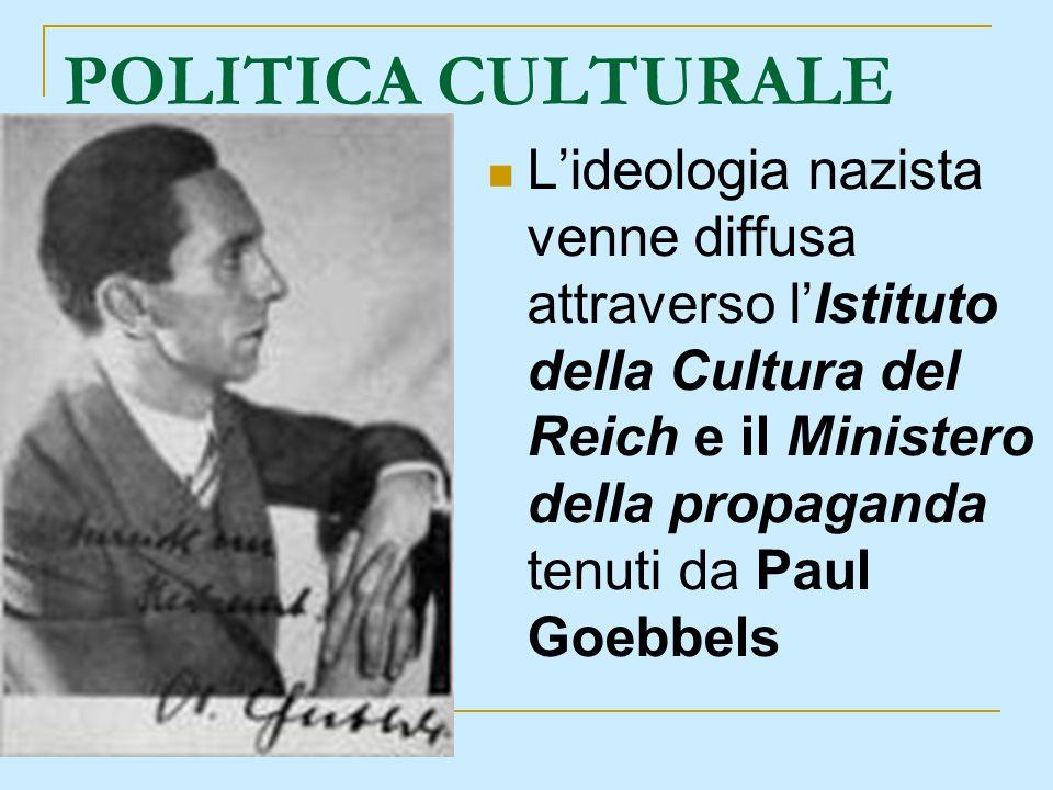 POLITICA CULTURALE Lideologia nazista venne diffusa attraverso lIstituto della Cultura del Reich e il Ministero della propaganda tenuti da Paul Goebbe