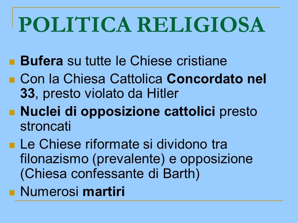 POLITICA RELIGIOSA Bufera su tutte le Chiese cristiane Con la Chiesa Cattolica Concordato nel 33, presto violato da Hitler Nuclei di opposizione catto