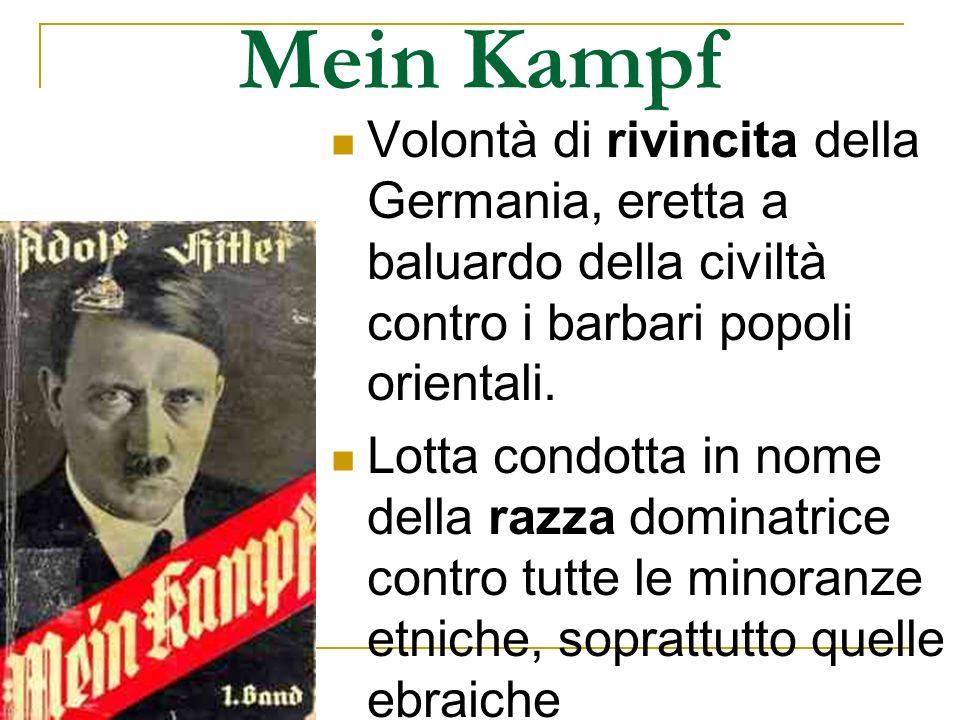 Mein Kampf Volontà di rivincita della Germania, eretta a baluardo della civiltà contro i barbari popoli orientali. Lotta condotta in nome della razza