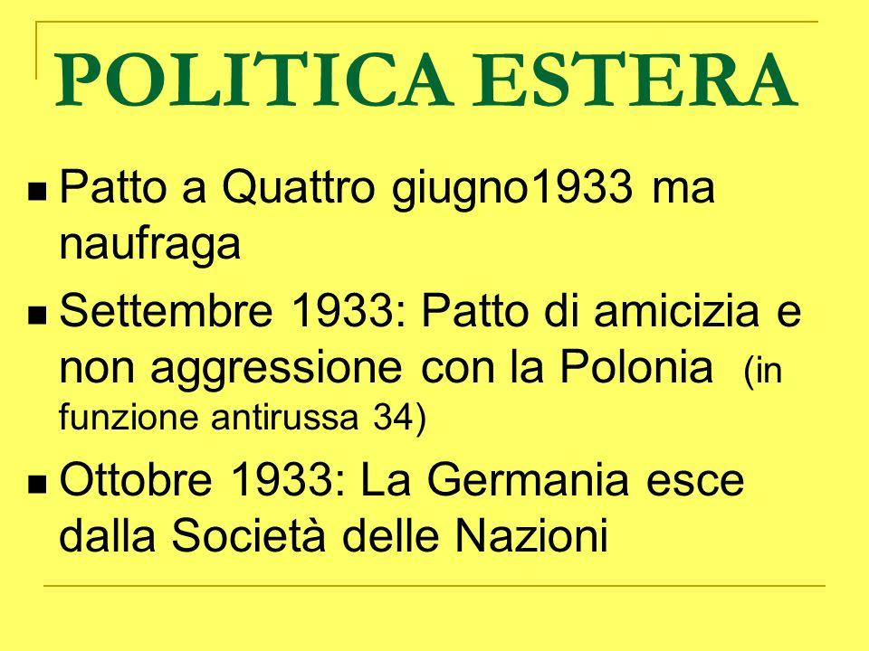 POLITICA ESTERA Patto a Quattro giugno1933 ma naufraga Settembre 1933: Patto di amicizia e non aggressione con la Polonia (in funzione antirussa 34) O