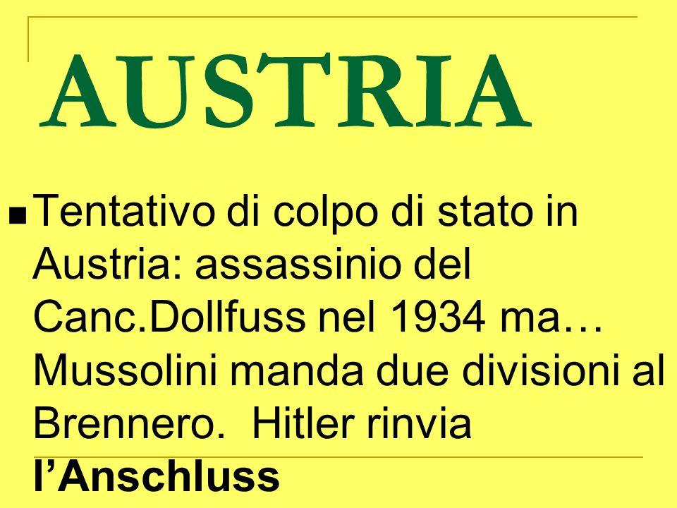 AUSTRIA Tentativo di colpo di stato in Austria: assassinio del Canc.Dollfuss nel 1934 ma… Mussolini manda due divisioni al Brennero. Hitler rinvia lAn