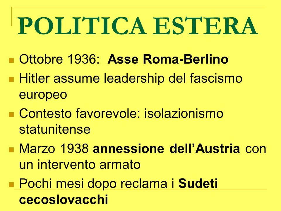 POLITICA ESTERA Ottobre 1936: Asse Roma-Berlino Hitler assume leadership del fascismo europeo Contesto favorevole: isolazionismo statunitense Marzo 19