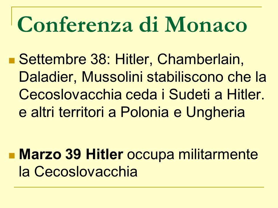 Conferenza di Monaco Settembre 38: Hitler, Chamberlain, Daladier, Mussolini stabiliscono che la Cecoslovacchia ceda i Sudeti a Hitler. e altri territo