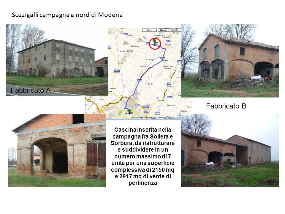 Sozzigalli campagna a nord di Modena Cascina inserita nella campagna fra Soliera e Sorbara, da ristrutturare e suddividere in un numero massimo di 7 unità per una superficie complessiva di 2150 mq e 2917 mq di verde di pertinenza Fabbricato A Fabbricato B
