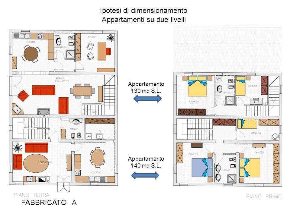 FABBRICATO A Ipotesi di dimensionamento Appartamenti su due livelli Appartamento 140 mq S.L. Appartamento 130 mq S.L.