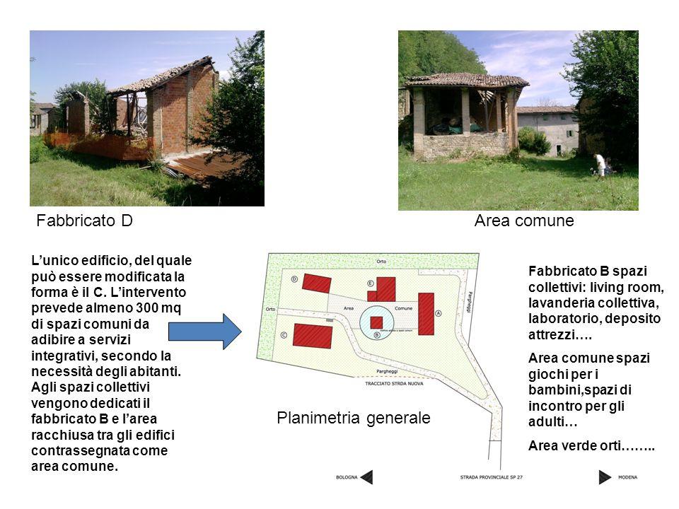Fabbricato D Lunico edificio, del quale può essere modificata la forma è il C. Lintervento prevede almeno 300 mq di spazi comuni da adibire a servizi