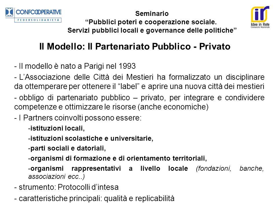 Seminario Pubblici poteri e cooperazione sociale. Servizi pubblici locali e governance delle politiche Il Modello: Il Partenariato Pubblico - Privato