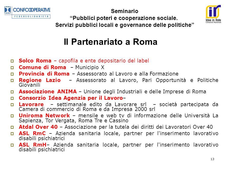 Seminario Pubblici poteri e cooperazione sociale. Servizi pubblici locali e governance delle politiche 13 Solco Roma – capofila e ente depositario del