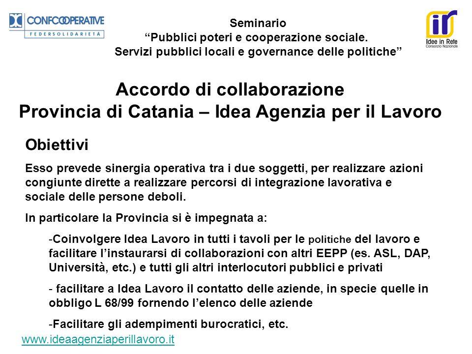 Seminario Pubblici poteri e cooperazione sociale. Servizi pubblici locali e governance delle politiche Accordo di collaborazione Provincia di Catania
