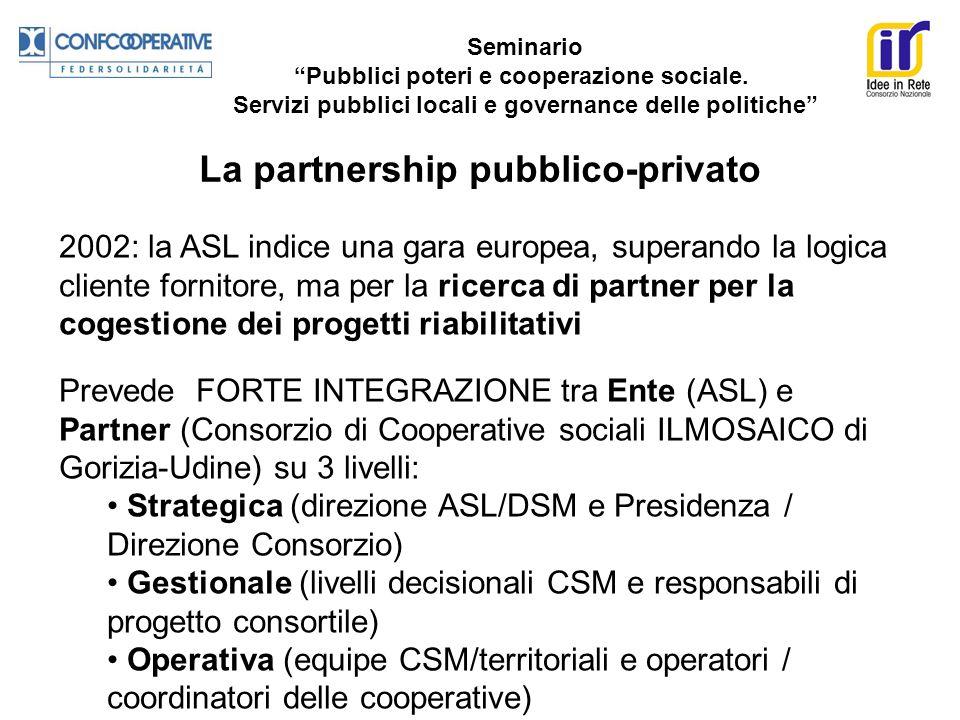 Seminario Pubblici poteri e cooperazione sociale. Servizi pubblici locali e governance delle politiche La partnership pubblico-privato 2002: la ASL in