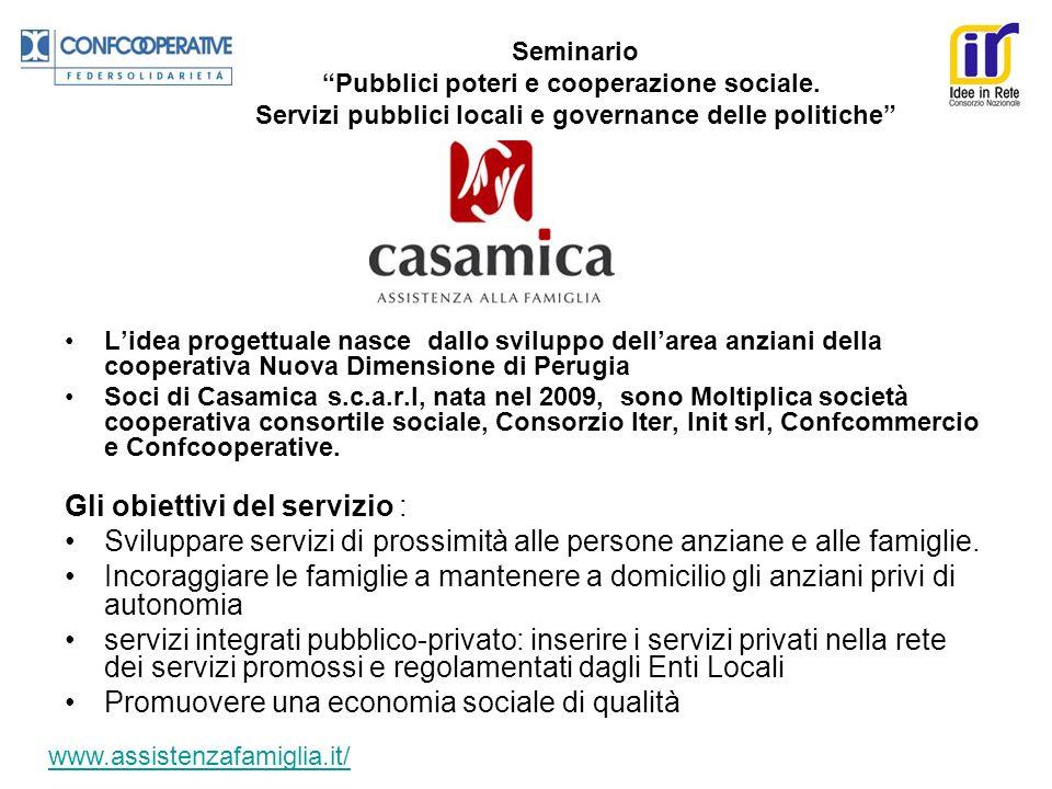 Lidea progettuale nasce dallo sviluppo dellarea anziani della cooperativa Nuova Dimensione di Perugia Soci di Casamica s.c.a.r.l, nata nel 2009, sono