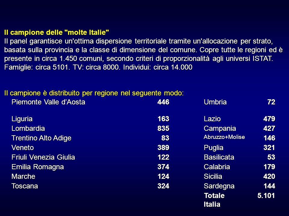 Il campione delle molte Italie Il panel garantisce un ottima dispersione territoriale tramite un allocazione per strato, basata sulla provincia e la classe di dimensione del comune.